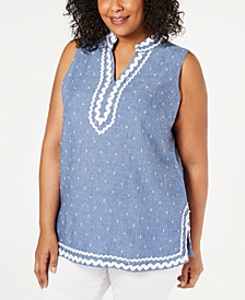 Plus Size Ric-Rac Linen Top, Created for Macy's