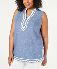 Charter Club Plus Size Ric-Rac Linen Top, Created for Macy's