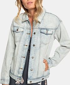 Juniors' Midnight Drive Cotton Denim Boyfriend Jacket