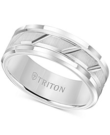 Men's White Tungsten Carbide Ring, 8mm Diamond-Cut Wedding Band