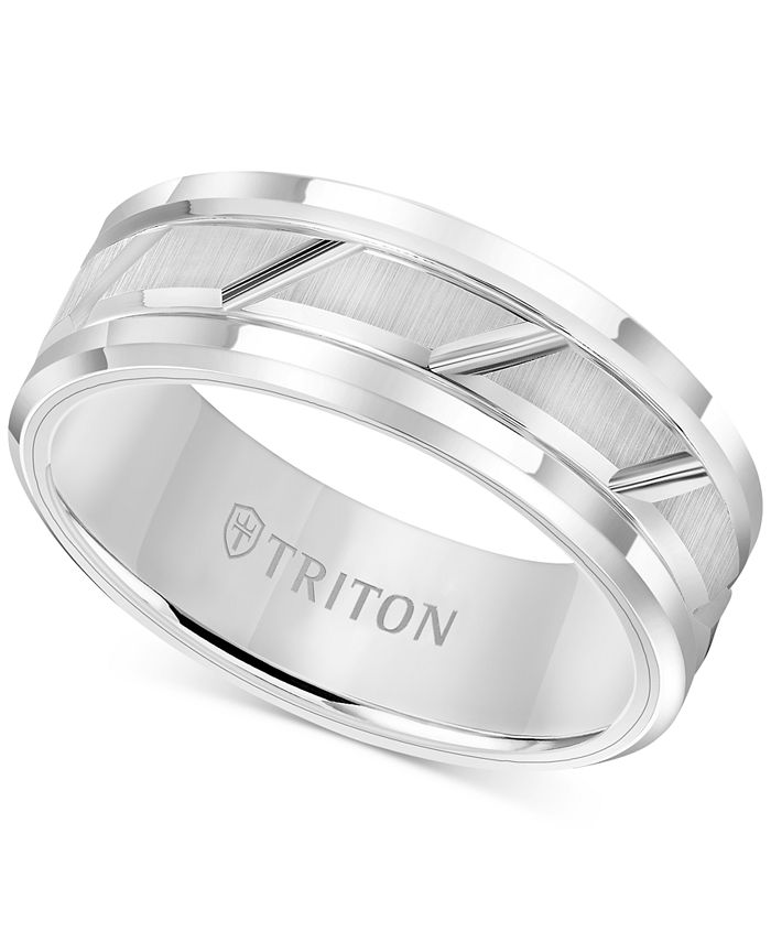 Triton - Men's White Tungsten Carbide Ring, 8mm Diamond-Cut Wedding Band