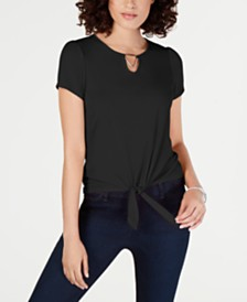 NY Collection Petite Tie-Front Keyhole Top