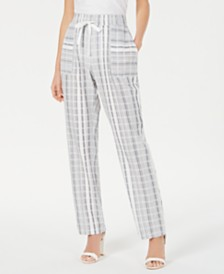 NY Collection Petite Cotton Striped Pants