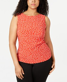 Anne Klein Plus Size Printed Ruched Top