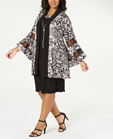 R & M Richards Plus Size Shift Dress & Printed Jacket