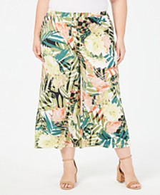 NY Collection Plus Size Printed Gaucho Pants