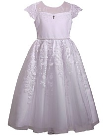 Bonnie Jean Embroidered Illusion Flutter Sleeve Communion Dress