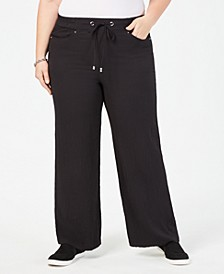 Plus Size Wide-Leg Drawstring Pants, Created for Macy's