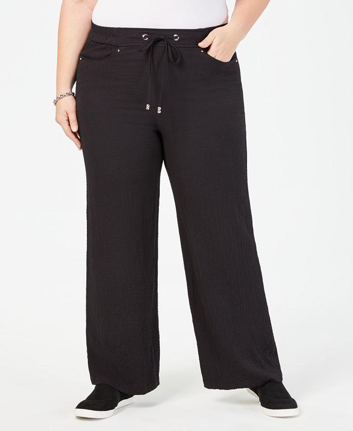 JM Collection - Plus Size Wide-Leg Drawstring Pants