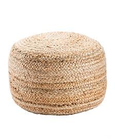 Mesa Beige Solid Round Pouf