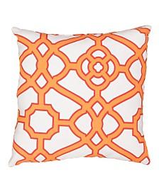 "Jaipur Living Pavilion White/Orange Trellis Indoor/ Outdoor Throw Pillow 18"""