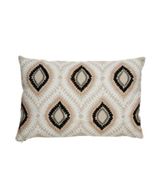 "Nikki Chu By Ambra Beige/Pink Ikat Poly Throw Pillow 16"" x 24"""