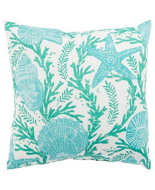 "Jaipur Living Cove Aqua/White Floral Indoor/ Outdoor Throw Pillow 18"""