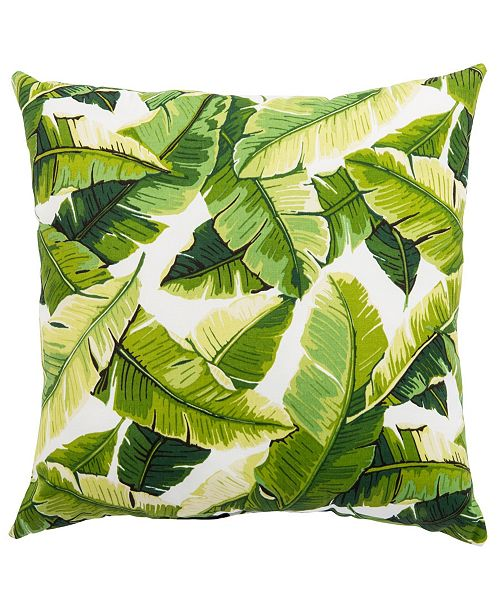 """Jaipur Living Balmoral White/Green Floral Indoor/ Outdoor Throw Pillow 20"""""""