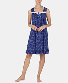 Eyelet-Trim Cotton Knit Nightgown