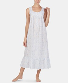 Eileen West Printed Swiss Dot Cotton Ballet-Length Nightgown
