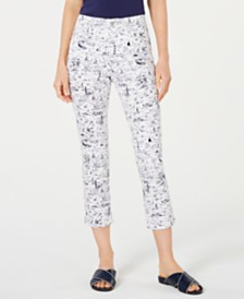 Charter Club Petite Printed Bristol Capri Jeans, Created for Macy's