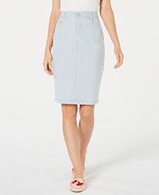 Charter Club Petite Striped Denim Skirt, Created for Macy's