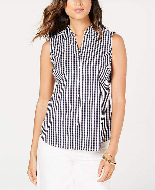Charter Club Sleeveless Gingham Blouse, Created for Macy's