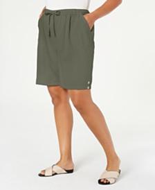 Karen Scott Plus Size Cotton Pull-On Shorts, Created for Macy's