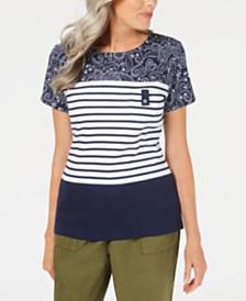 Karen Scott Bandana Striped Scoop-Neck Top, Created for Macy's