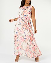 e2180f93a40 Jessica Howard Plus Size Floral Pleated Maxi Dress