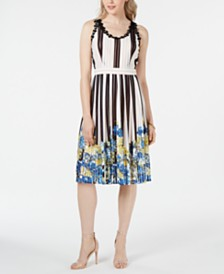 foxiedox Striped Fit & Flare Dress