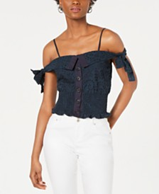 Kendall + Kylie Cotton Eyelet Cold-Shoulder Top