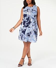 Jessica Howard Plus Size Sleeveless Printed Trapeze Dress