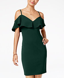 Emerald Sundae Juniors' Cold-Shoulder Bodycon Dress