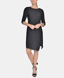 NY Collection Studded-Trim Asymmetrical-Hem Dress