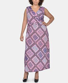 NY Collection Plus Size Printed Wrap-Front Maxi Dress