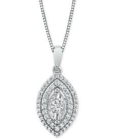"Diamond Marquise Halo 18"" Pendant Necklace (1/3 ct. t.w.)"