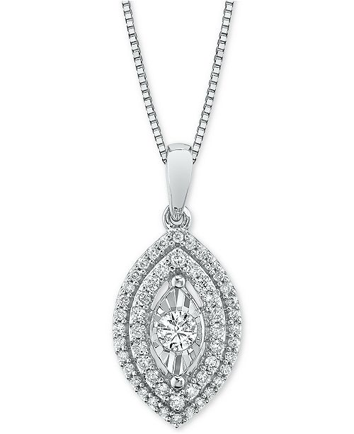 "Macy's Diamond Marquise Halo 18"" Pendant Necklace (1/3 ct. t.w.)"