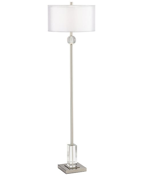 Pacific Coast Metal and Crystal Floor Lamp with Double Shade