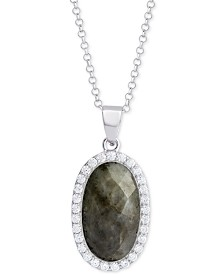 "Labradorite (4-1/2 ct. t.w.) & Cubic Zirconia 18"" Pendant Necklace in Sterling Silver (Also Available in Amethyst, Aqua Quartz and Rose Quartz)"