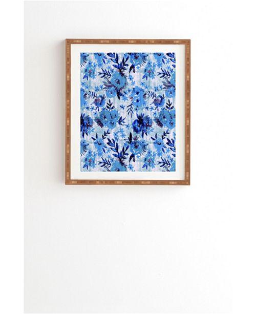 Deny Designs Marion Floral Blue Framed Wall Art