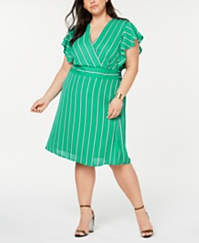 Monteau Trendy Plus Size Striped Flutter Wrap Dress