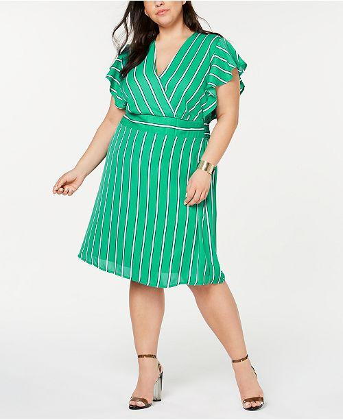 Monteau Trendy Plus Size Striped Flutter Wrap Dress & Reviews ...
