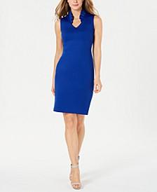 Ruffled-Collar Scuba Sheath Dress, Regular & Petite Sizes
