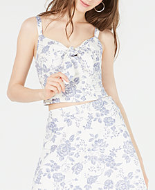 Gypsies & Moondust Juniors' Printed Sweetheart-Neck Cropped Top