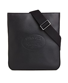 Lacoste Men's Flat Leather Crossbody Bag