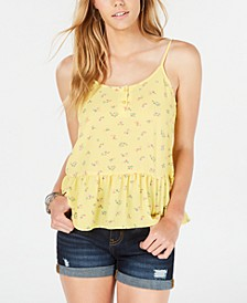 Juniors' Floral Peplum Tank Top