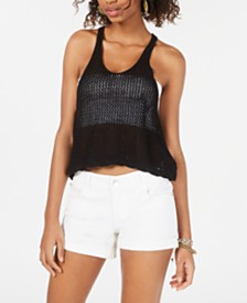 Hooked Up by IOT Juniors' Sleeveless Knit Mesh Top