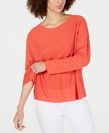 Eileen Fisher Scoop-Neck Long-Sleeve Top, Regular & Petite