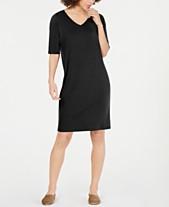 69a891a827d62 Eileen Fisher V-Neck Elbow-Sleeve Tencel ™ Shift Dress, Regular & Petite
