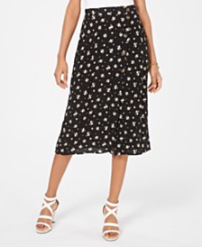 Ultra Flirt Juniors' Printed Button-Front Midi Skirt
