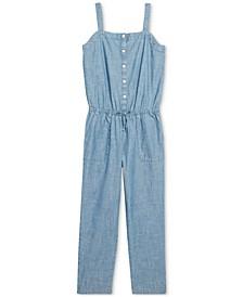 Big Girls Indigo Cotton Chambray Jumpsuit