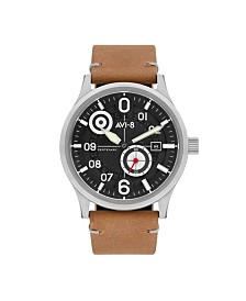 AVI-8 Men's Japanese Automatic FlyBoy Centenary 1960's, AV-4060-01, Brown Leather Strap Watch 43mm