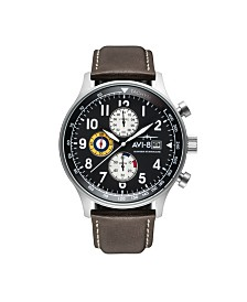 AVI-8 Men's Japanese Quartz Chronograph Hawker Hurricane Panda Edition, AV-4011-0H, Brown Leather Strap Watch 42mm